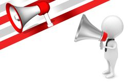 3d man holding a megaphone in hands concept. 3d rendering , side angle view royalty free illustration