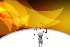 3d man holding mic / music illustration Royalty Free Stock Photo