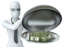 3d man holding money on a platter. payment Stock Photography