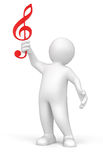 3d man holding music score clef on his hand (clipping path included) Royalty Free Stock Image