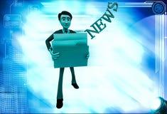 3d man holding news files illustration Stock Photos