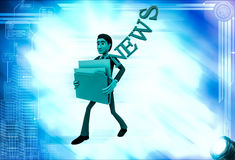 3d man holding news files illustration Stock Images