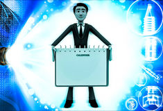 3d man holding note paper in hand illustration Royalty Free Stock Photography