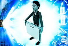 3d man holding note paper in hand illustration Royalty Free Stock Photo
