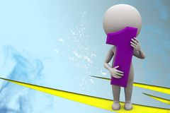 3d Man Holding Number One Illustration Stock Photography