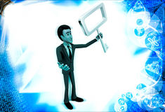 3d man holding old generation key illustration Royalty Free Stock Image