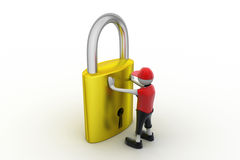 3D man holding a   padlock Royalty Free Stock Images