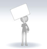 3d man holding a page on white backround Royalty Free Stock Images