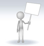 3d man holding a page on white backround Stock Images