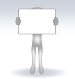 3d man holding a page on white backround Stock Image