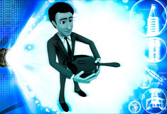 3d man holding pan cooker in hand illustration Royalty Free Stock Photography