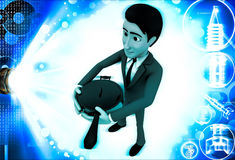 3d man holding pan cooker in hand illustration Stock Photo
