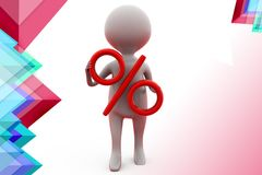 3d man holding percent symbol  illustration Royalty Free Stock Photography