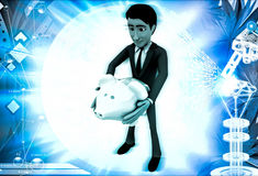 3d man holding piggybank in hand illustration Royalty Free Stock Photo