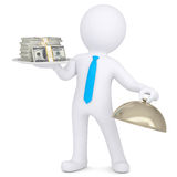 3d man holding a pile of money on a platter. Isolated render on a white background Royalty Free Stock Photography