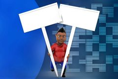 3d man holding plain board illustration Royalty Free Stock Photos