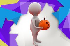 3d man holding pumpkin illustration Royalty Free Stock Photo