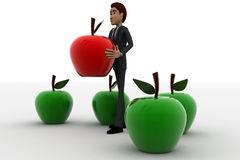 3d man holding red apple in hands and green apples around him concept Stock Photo