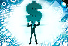 3d man holding red dollar sign in hand illustration Royalty Free Stock Photos