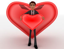 3d man holding red heart in hands and big heart in background concept Stock Image