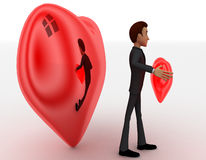 3d man holding red heart in hands and big heart in background concept Stock Photo