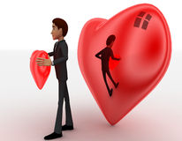 3d man holding red heart in hands and big heart in background concept Royalty Free Stock Photo
