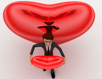 3d man holding red heart in hands and big heart in background concept Stock Images