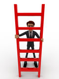 3d man holding red ladder to climb concept Stock Photography