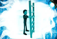 3d man holding red ladder to climb illustration Royalty Free Stock Photo