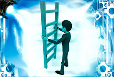 3d man holding red ladder to climb illustration Stock Photos