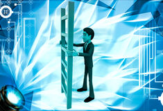 3d man holding red ladder to climb illustration Royalty Free Stock Image