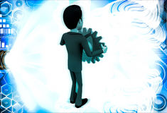 3d man holding red mechanical gear wheel in hand illustration Stock Photography
