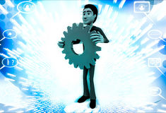 3d man holding red mechanical gear wheel in hand illustration Royalty Free Stock Photos