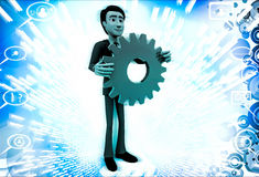 3d man holding red mechanical gear wheel in hand illustration Royalty Free Stock Photography