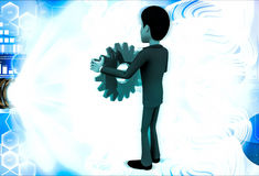 3d man holding red mechanical gear wheel in hand illustration Royalty Free Stock Images