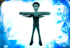 3d man holding red question mark illustration Royalty Free Stock Photography