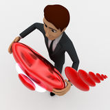 3d man holding red shiny heart in hand and heart shaped bubbles concept Stock Images