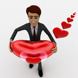 3d man holding red shiny heart in hand and heart shaped bubbles concept Royalty Free Stock Images