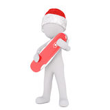 3d man holding a red Swiss army knife. 3d man holding closed a red Swiss army knife in his arms as he stands in a festive Santa hat for Christmas, isolated Royalty Free Stock Photo