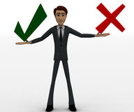3d man holding red wrong and green right symbol concept Stock Images