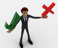 3d man holding red wrong and green right symbol concept Stock Image