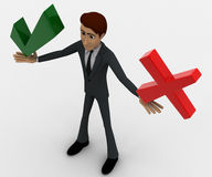 3d man holding red wrong and green right symbol concept Royalty Free Stock Photos