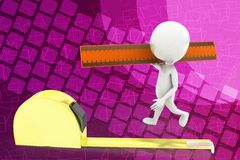 3D man holding scale - measuring tape illustration Royalty Free Stock Photo