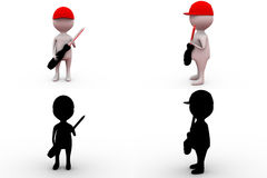 3d man holding screw driver concept collections with alpha and shadow channel Stock Image