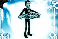 3d man holding set of dna in hand illustration Stock Image