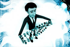 3d man holding set of dna in hand illustration Stock Photo