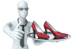 3d man holding shoes on a tray Stock Photography
