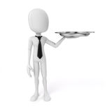 3d man holding a silver plate. 3d man carrying a silver plate Stock Image
