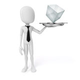 3d man holding a silver plate with a glass cube Stock Image