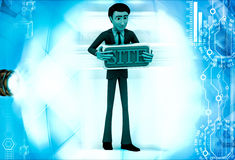 3d man holding site text board illustration Stock Images